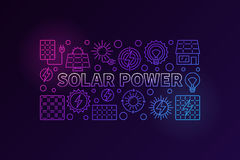 Solar power colorful banner. Vector renewable energy concept illustration made with thin line icons of sun and solar panels on dark background Stock Photo