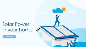 Free Solar Power Concept Landing Page. Solar Cell System Home Royalty Free Stock Image - 140981876