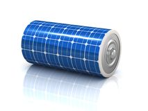 Solar power 3d concept - solar panel battery Stock Photos