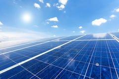 Solar power for electric renewable energy from the sun. Solar panel and sun light Stock Photos