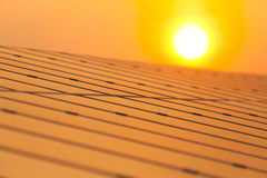 Solar power for electric renewable energy from the sun. Solar panel and sun light Stock Photography