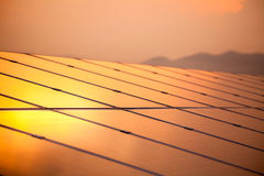 Solar power for electric renewable energy from the sun. Reflection sun light Stock Photos