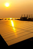 Solar power for electric renewable energy from the sun. Reflection sun light Royalty Free Stock Photography