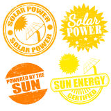Solar power energy stamps. Set of solar power energy stamps on white, vector illustration Royalty Free Stock Images