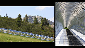 The solar power Gallery enclosure, Isskogel, Austr. Solar energy is generated at the Latschenalm in the mountains north of the Austrian town of Gerlos in Tyrol stock photo