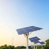 Solar power panel array. Solar power panels convert sun light into electricity and provide green energy Stock Photo