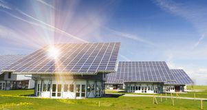 Solar power panel on roof in germany Stock Photo