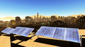 Solar power panels in city Royalty Free Stock Image