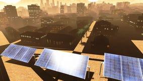 Solar power panels in city Stock Photos