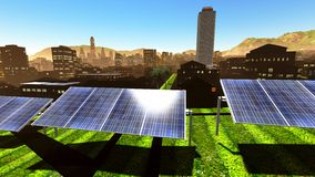 Solar power panels in city Royalty Free Stock Images