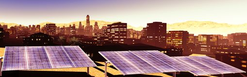 Solar power panels in city Royalty Free Stock Photography