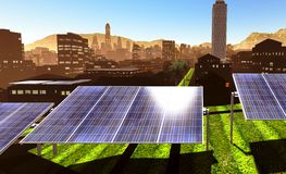 Solar power panels in city Stock Photo