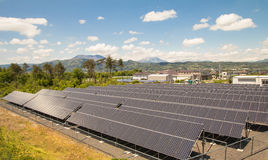 Solar power panels. Innovation green energy for life with blue sky background,Obuse Town,Nagano,Japan Stock Image