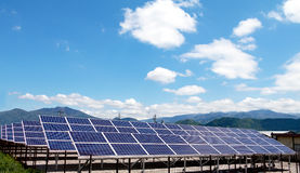 Solar power panels. Innovation green energy for life with blue sky background,Obuse Town,Nagano,Japan Stock Photos