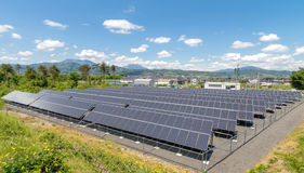 Solar power panels. Innovation green energy for life with blue sky background,Obuse Town,Nagano,Japan Stock Photo