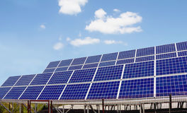Solar power panels. Innovation green energy for life with blue sky background,Obuse Town,Nagano,Japan Royalty Free Stock Photography