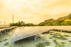 Solar  power panels for innovation green energy for life Royalty Free Stock Photos