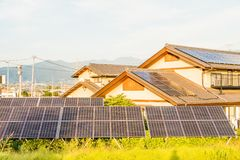 Solar power panels ,Photovoltaic modules for innovation green e. Nergy for life with blue sky background Stock Images