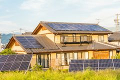 Solar power panels ,Photovoltaic modules for innovation green en Stock Photography