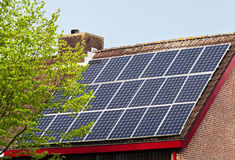 Solar power panels on roof Royalty Free Stock Photo
