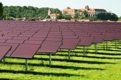 Solar power plant. Renewable energy source stock photo