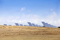 Solar power plant. Modern energy in province, Greece Royalty Free Stock Images