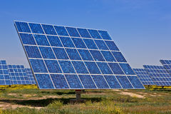 Solar power plant. Solar panels in the power plant for renewable energy Stock Photo