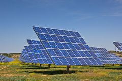Solar power plant. Solar panels in the power plant for renewable energy Royalty Free Stock Photo
