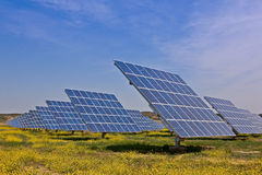 Solar power plant. Solar panels in the power plant for renewable energy stock photography