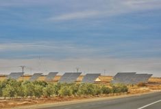 Solar power plant. Clean energy in Spain royalty free stock photo
