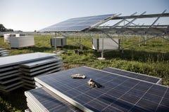 Solar power plant construction Stock Photo