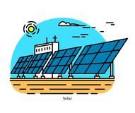 Solar power plant. Conversion of concentrated energy from sunlight into electricity. Powerhouse or generating station. Industrial building icon. Photovoltaic stock illustration