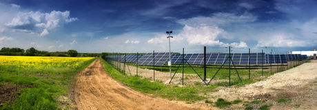 Solar power plant in landscape Stock Images
