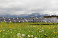 Solar power. Plant located in a valley in the Austrian Alps Stock Images