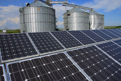 Solar power plant in rural area Stock Photo