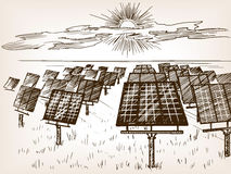 Solar power plant sketch vector illustration Royalty Free Stock Image