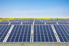 Solar power plant in spring Royalty Free Stock Images