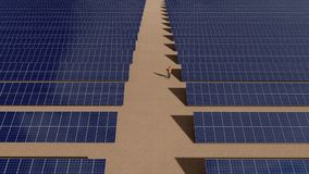 Solar power plant and two worker walking around stock footage