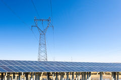Solar power plant under the sunny sky Royalty Free Stock Photos