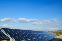 Solar power plants. Solar power plant. Solar panels in south of Spain Royalty Free Stock Images