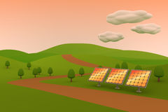 Solar power / Solar panels. 3DCG illustration of solar power Royalty Free Stock Photo