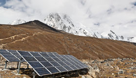 Solar Power Station. In Himalaya Mountains, Nepal Stock Image