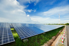 Solar power station. In blue sky royalty free stock photography