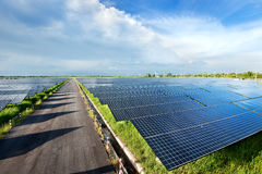 Solar power station. In blue sky royalty free stock images