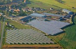 Solar power station from above. Aerial photo of solar power plant. Many solar energy panels in countryside from above. Photovoltaic power station near Pilsen Stock Illustration