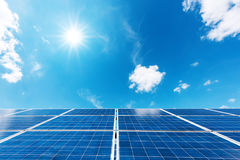 Solar power station. Against the blue sky. Alternative energy concept Royalty Free Stock Images