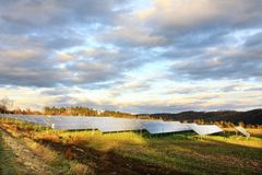 Solar Power Station in the autumn Nat Royalty Free Stock Photo