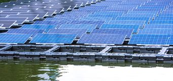 Solar power station float on water. Ecological energy renewable solar panel plant electric power stock photos