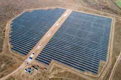 Solar power station. Green electricity panel view Royalty Free Stock Image