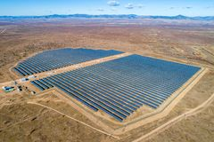 Solar power station. Green electricity panel view stock images